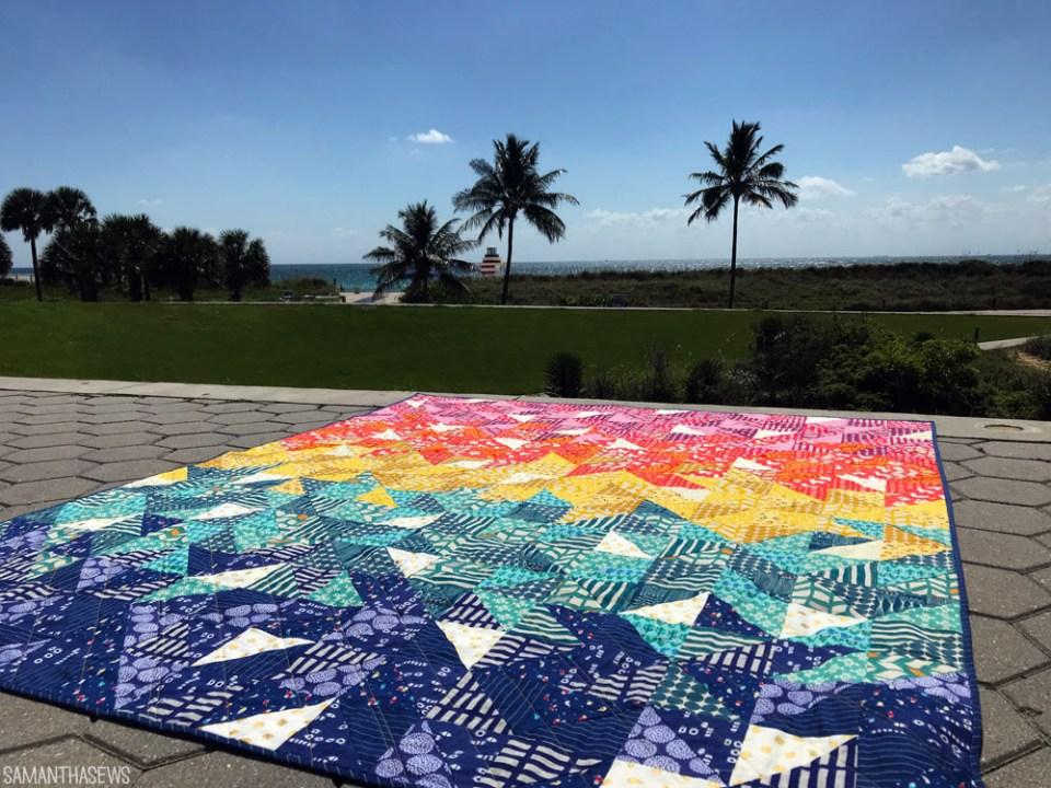 QUILTID-19: Rainbow HST quilt