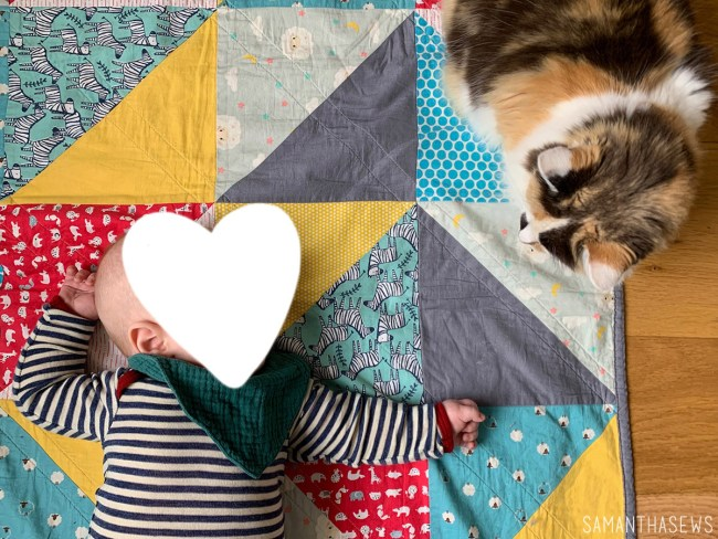 baby and cat on triangle baby quilt