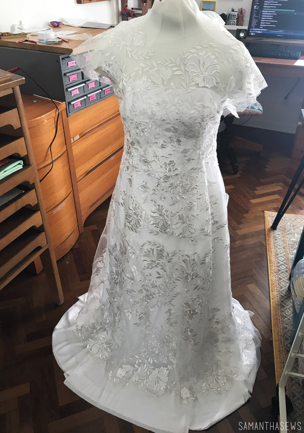 sewing a wedding dress with lace fabric