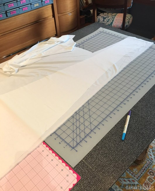 cutting out my handmade wedding dress