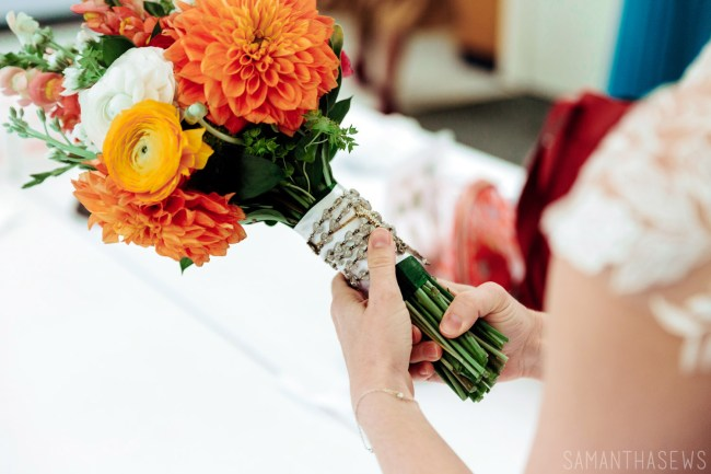DIY wedding bouquet with rosary