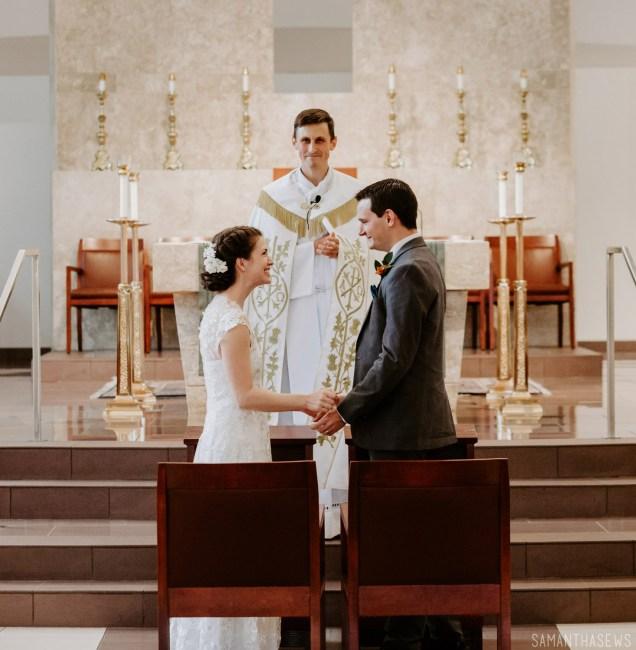 handmade lace wedding dress Catholic wedding