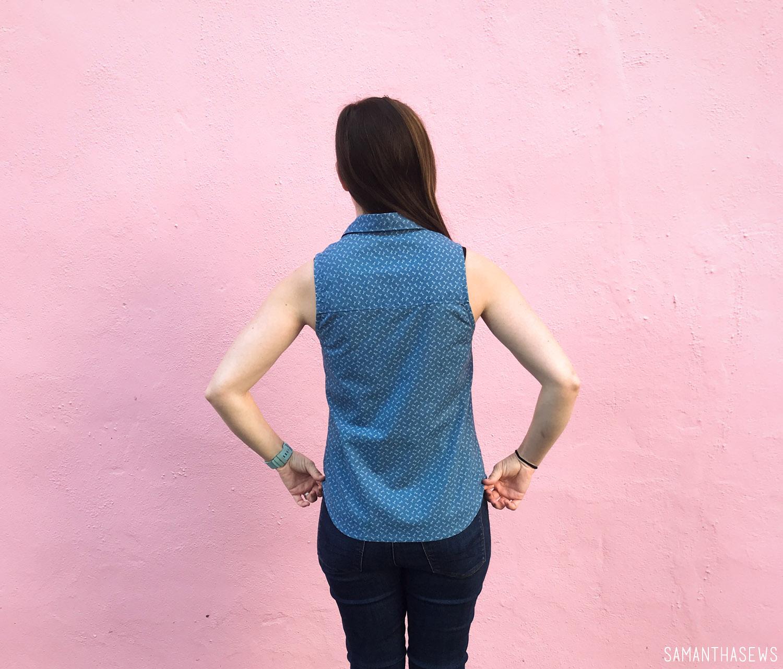 blue scissors print button-down handmade shirt