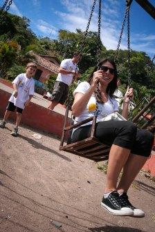 Tianna playing around before piñata set-up