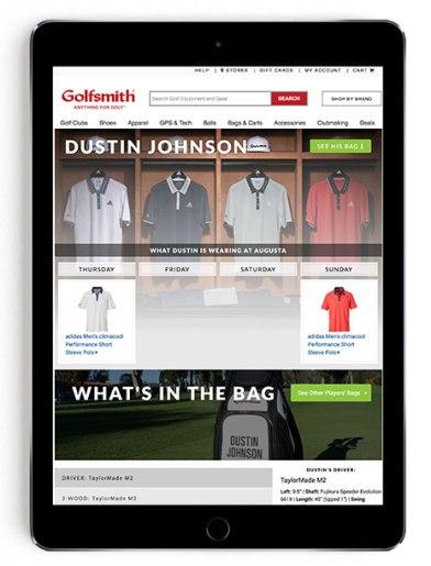 Dustin Johnson Masters scripting on Golfsmith