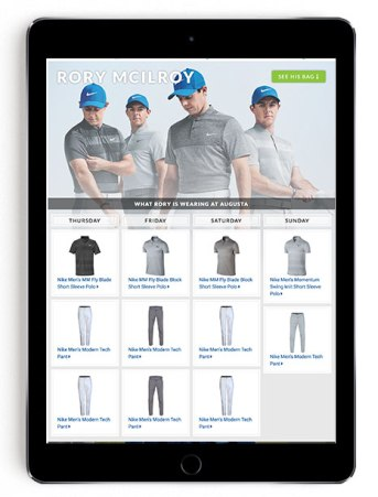 Rory McIlroy Masters scripting on Golfsmith