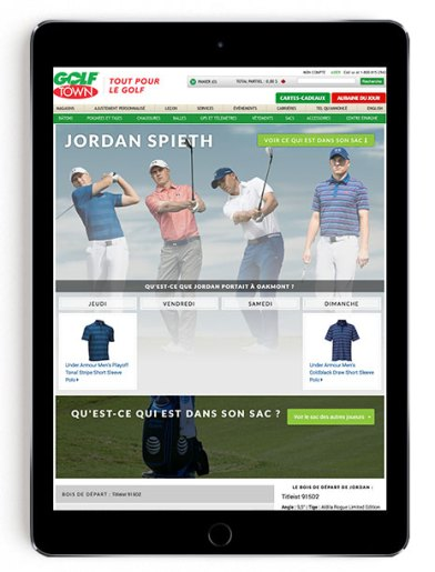 Jordan Spieth US Open scripting on Golf Town in French