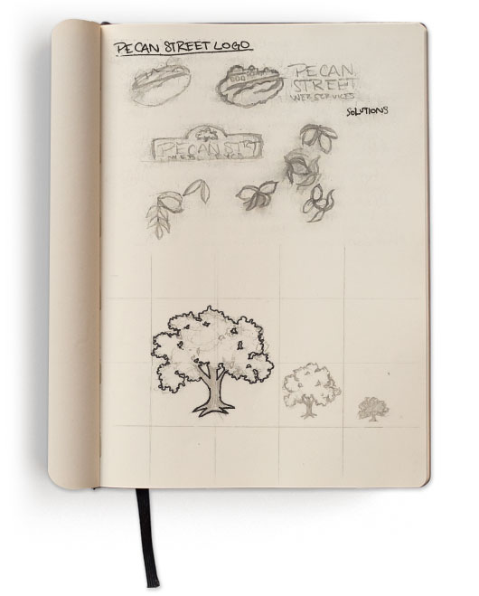 Concept Sketch for Initial Designs & Detailing of Pecan Tree Icon