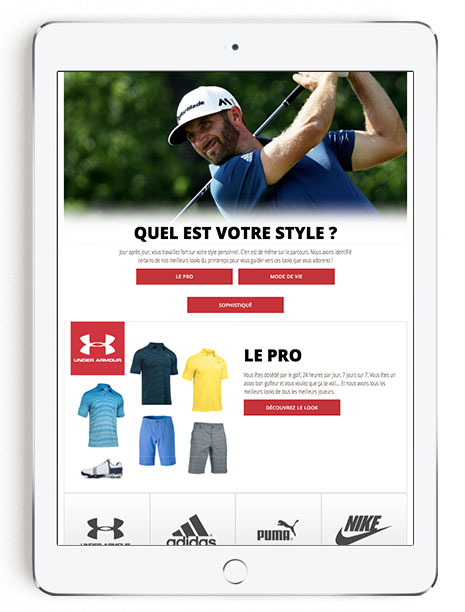 iPad Men's Golf Look Book in French