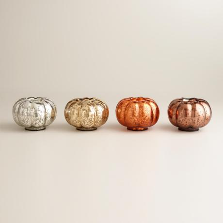 Mercury glass pumpkin tea light candleholders, World Market, $39.96