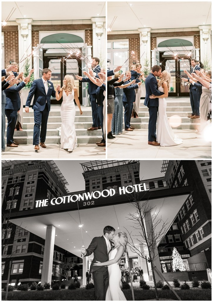 Wedding Sparkler Exit at the Cottonwood Hotel in Omaha Nebraska