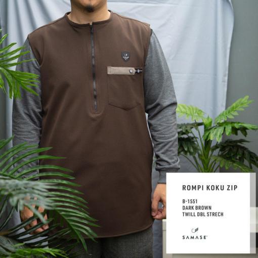 rompi-koku-zipp-b1551-dark-brown-twill-dbl-stretch