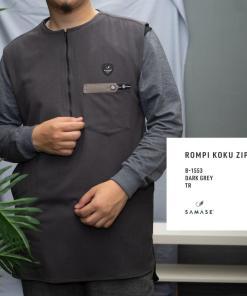 rompi-koku-zipp-b1553-dark-grey-twill-dbl-stretch
