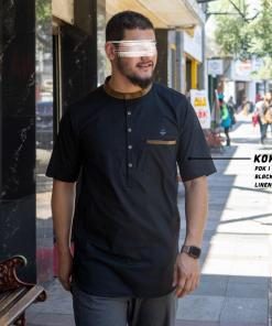 koku-pendek-a0216-black-linen-look