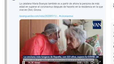 Oldest woman in Spain beats coronavirus at 113