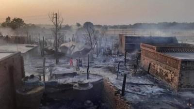 बाँकेको नरैनापुरमा आगलागी : १५० घरगोठ जालेर नष्ट