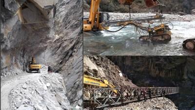 महाकाली थुनेरै सडक निर्माण गर्दा नेपालतिरको बाटोमा क्षति