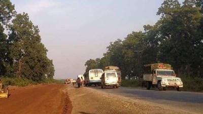 बर्सातका कारण नारायणगढ–बुटवल सडक विस्तार सुस्त