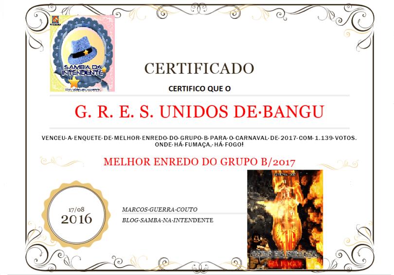 Certificado Unidos de Bangu