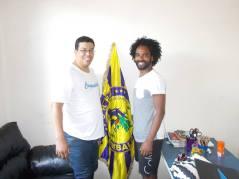 Presidente Flávio Dias à esquerda e o novo coreógrafo Pedro Bárbara