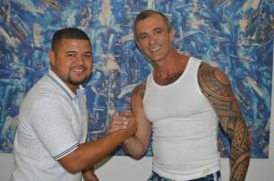 Presidente da Vizinha Faladeira, David dos Santos, e o carnavalesco Paulo Barros