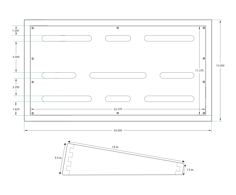 hight resolution of pedalboard dimensions