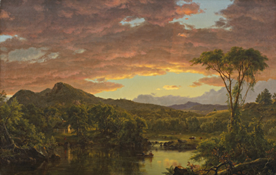 Frederic Edwin Church (American, 1826-1900), A Country Home, 1854; oil on canvas 32 x 51 in. Gift of Mrs. Paul C. Carmichael, 65.80