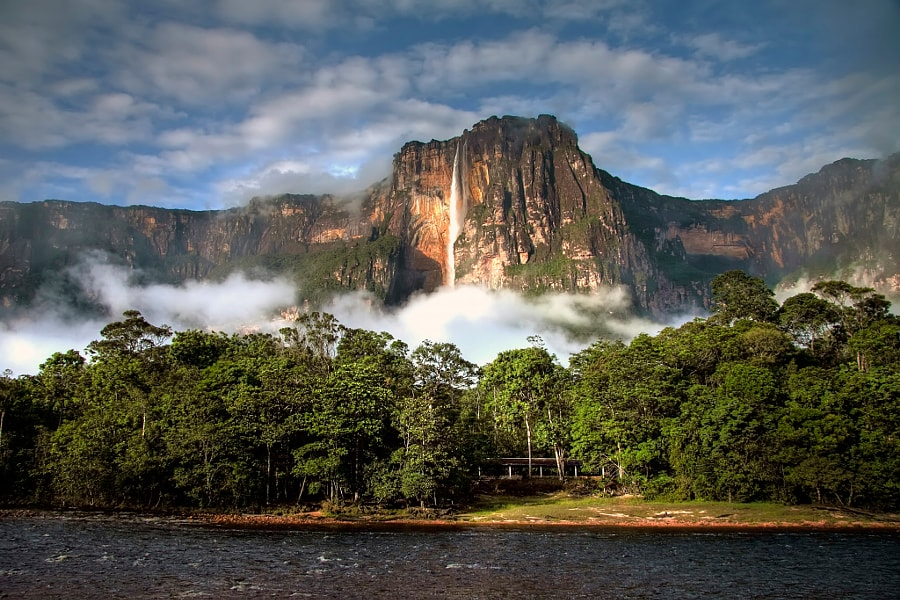 Distant view of the Angel Falls above the jungle.