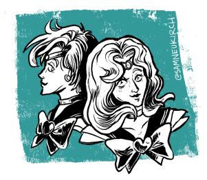 Sailor Neptune and Sailor Uranus from Sailor Moon
