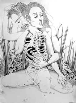 Eros & Thanatos, pen on paper, 22'x30'
