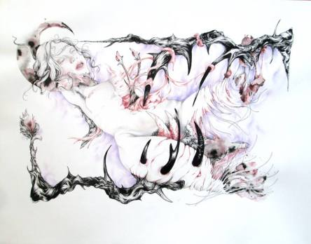 Le piège ( The Trap) - 22'x28' - Pen, ink and pencils on paper.