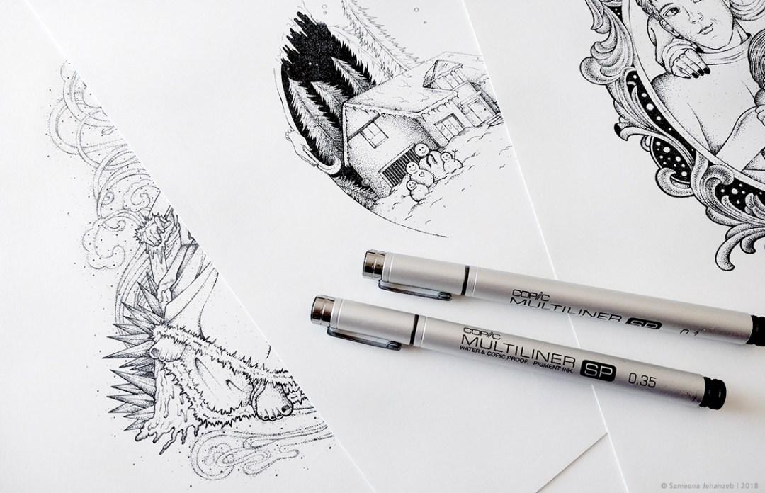 Illustrationen zu Winterhof von Sameena Jehanzeb