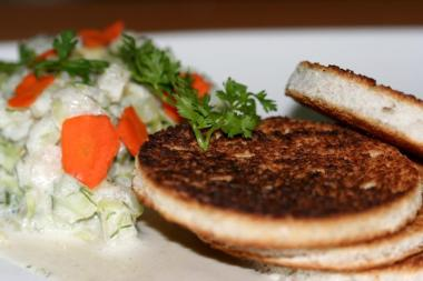 Garlic Butter Discs with Creamy Cucumber Salad