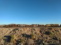 Just outside Uyuni is a steam locomotive graveyard, where many British-built engines rest, slowly rusting away. I spent a bit of time walking around and exploring the site