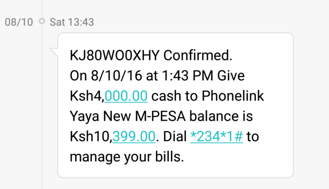 M-Pesa top up confirmation