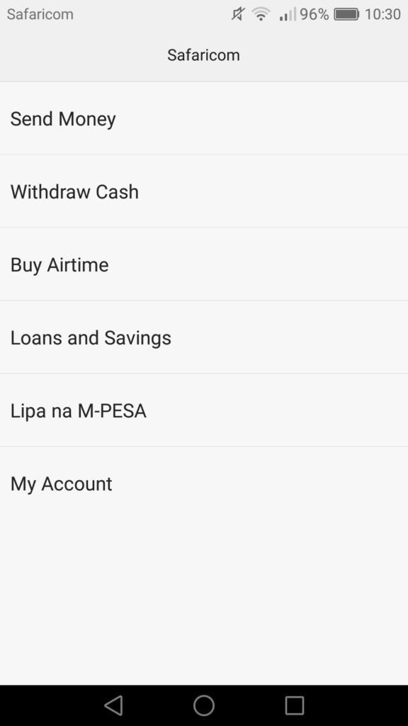 M-Pesa menu