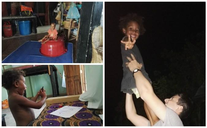 Omar sitting on his sister, Nuru and I drawing/ playing