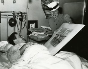 "Francis with his stepmother, Virginia Francis, at Fort Miley Hospital. (Published in article ""Move to Retain S.F. Vet Center,"" San Francisco Examiner, 16 April 1946; courtesy San Francisco Examiner.)"