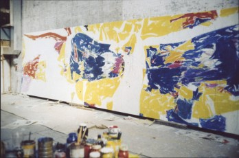 Chase Manhattan Bank Mural</em> in progress, Broadway studio, New York.