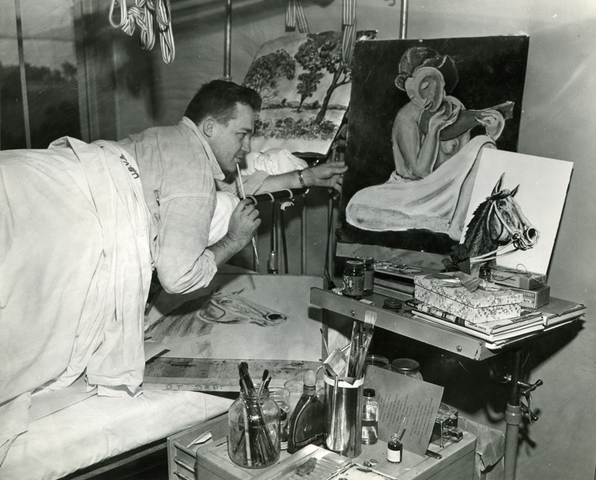 "Newspaper photo of Francis painting in the ""Bradford frame"" hoisted above hospital bed at Fort Miley, March 18, 1946; photo by Acme, San Francisco Bureau."
