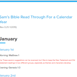 Sam's Bible Read Through Plan