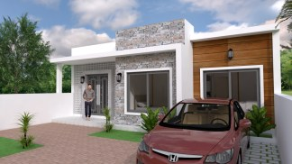 House Plans 10x8m with 2 Bedrooms