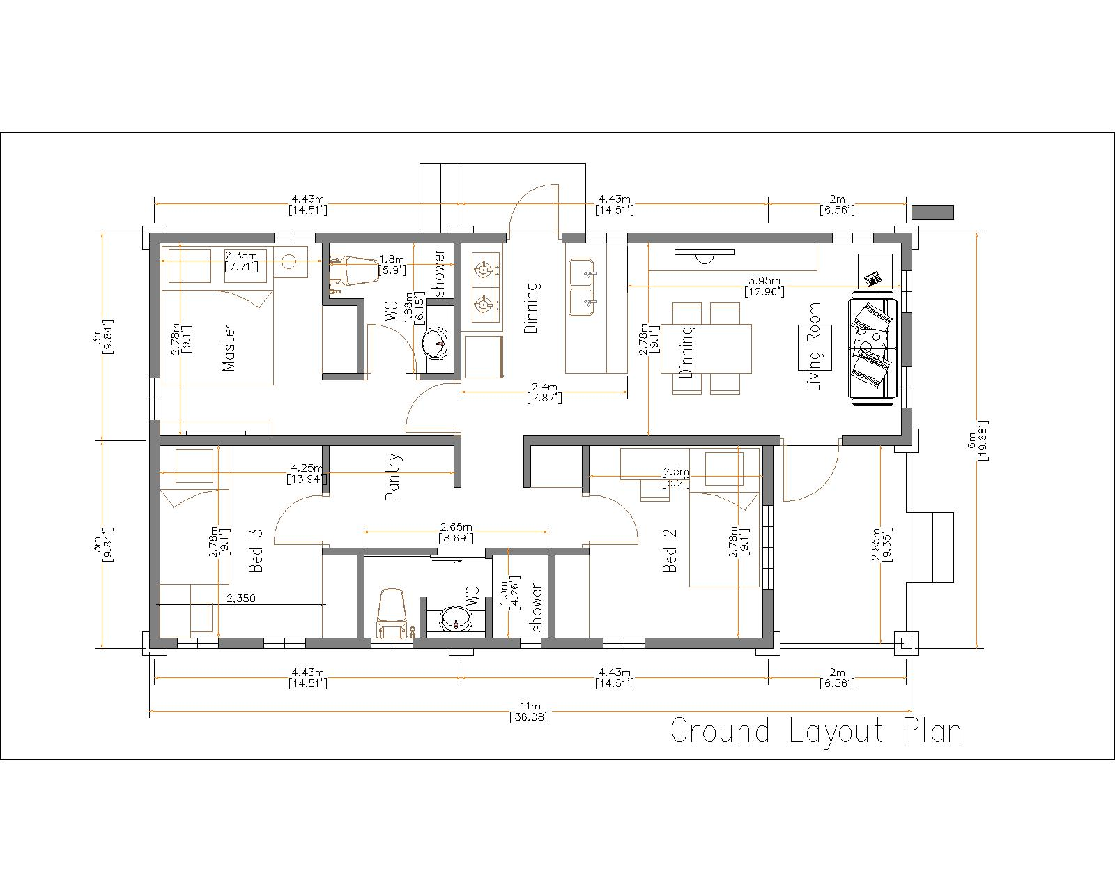 3 Bed 6x11m-House plans