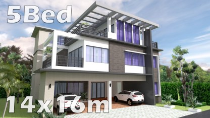 House Plan 14x16m with 5 Bedrooms