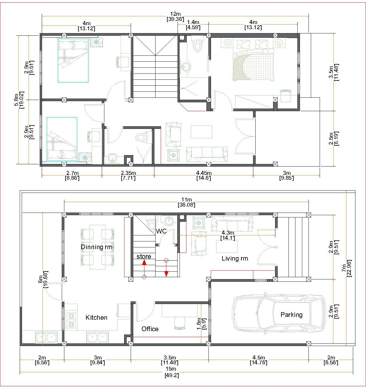 House Plans 7x15m with 3 Bedrooms floor plan FLOOR PLAN