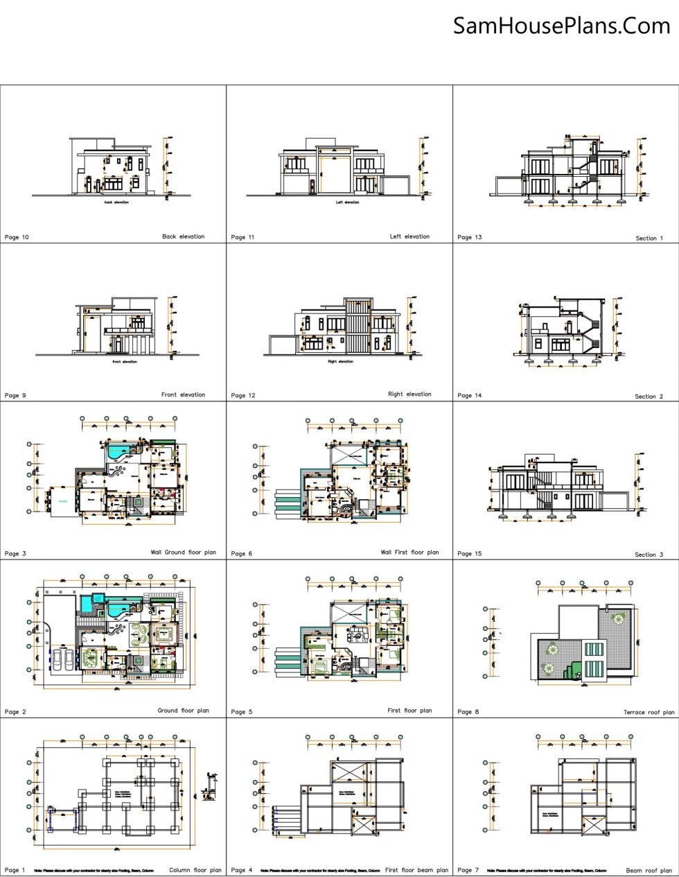 All layout plan 4 Bedroom Home Plan 13.8x19m