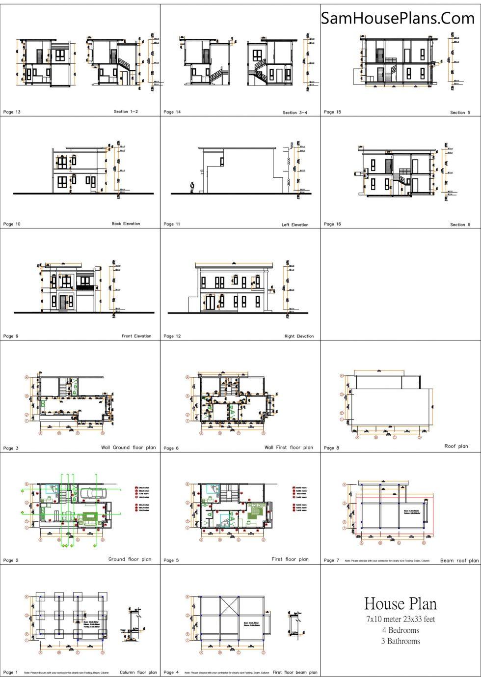 All layout plan Home Plan 7x10 Meter 4 Bedrooms