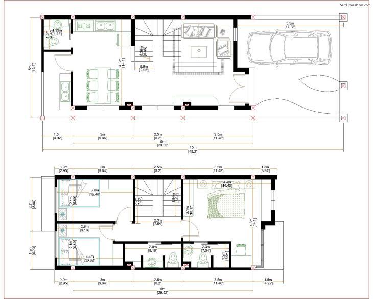 Home Design Plan 5x15m Duplex House with 3 Bedrooms floor plan