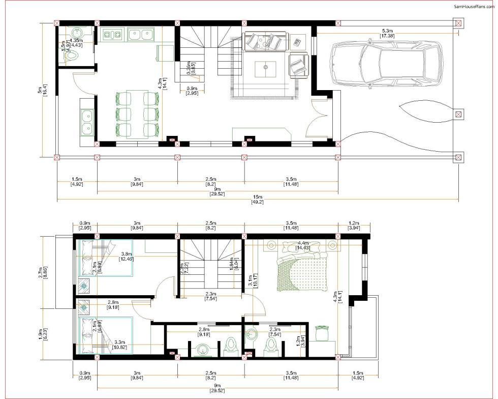 Home Design Plan 5x15m Duplex House with 3 Bedrooms floor plan