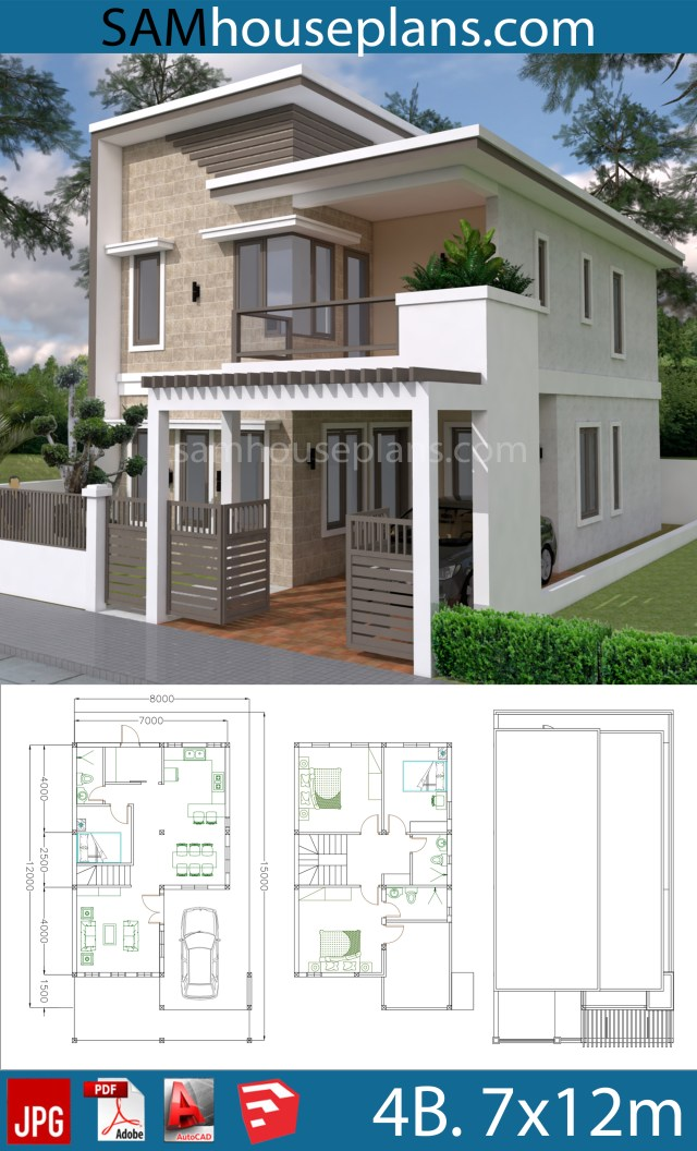 House Plans 7x12m with 4 Bedrooms Plot 8x15 - Sam House Plans